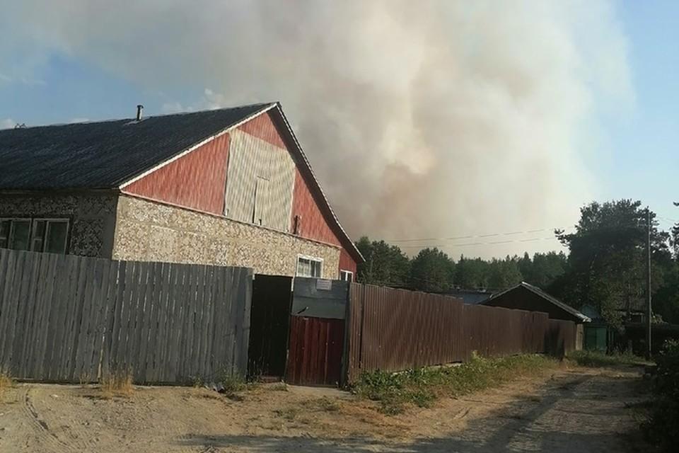 Жители поселка Найстенъярви пятые сутки борются с пожаром. Фото: Наталья Митрунен.