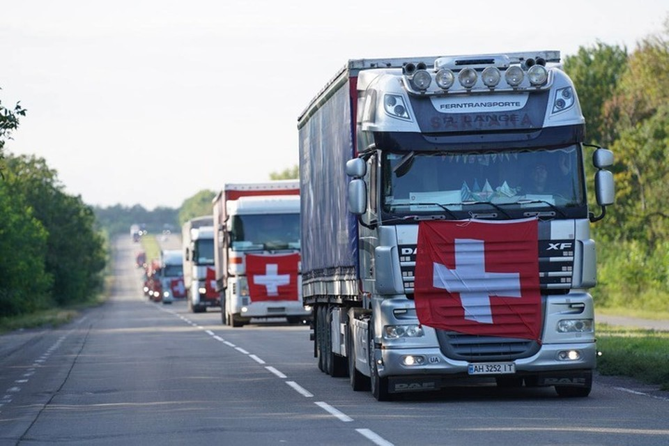 В Донецк прибыл самый крупный гуманитарный груз, направленный Швейцарией. Фото: Посольство Швейцарии