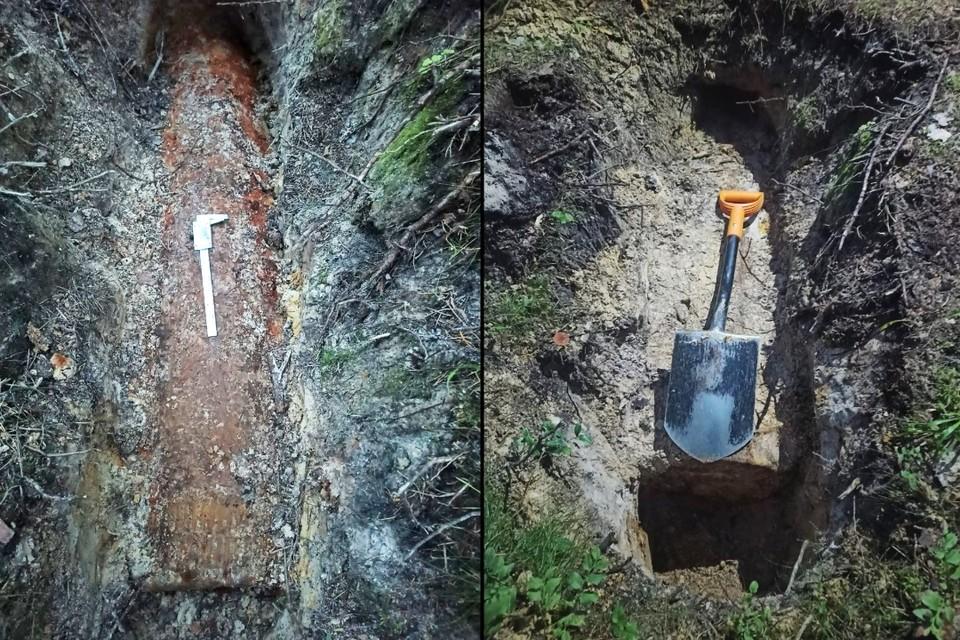 В Петербурге обнаружили снаряд времен ВОВ весом в полтонны и длиной в 1,5 метра. Фото: ГУ Росгвардии по Петербургу и Ленобласти