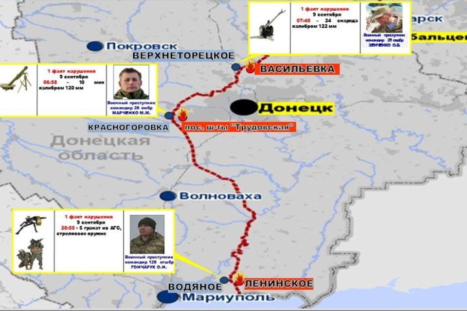 Схема обстрелов территории ДНР. Фото: НМ ДНР